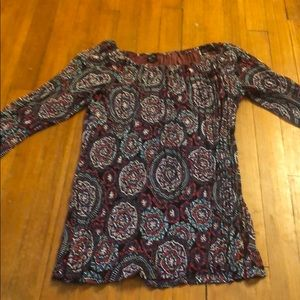 Patterned tunic with rhinestone accents